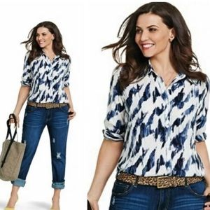 CaBi Long Sleeve Button Up Blouse in White & Blue